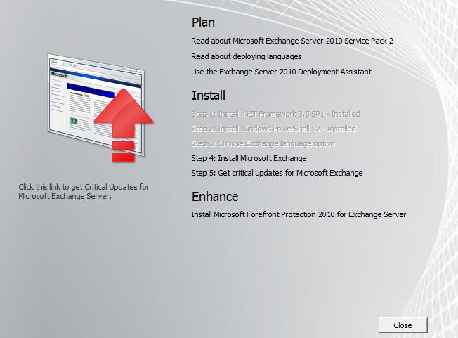Install Exchange Server 2010 SP2 Management tools on Windows