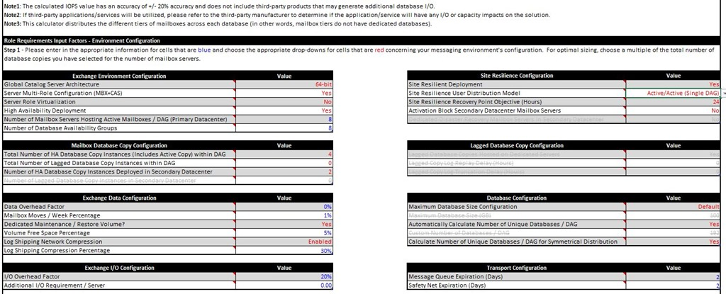 Exchange 2013 Server Role Requirements Calculator v5 9 - IT